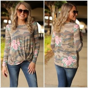 ❤️Camo and Floral Print Tuck Front Top